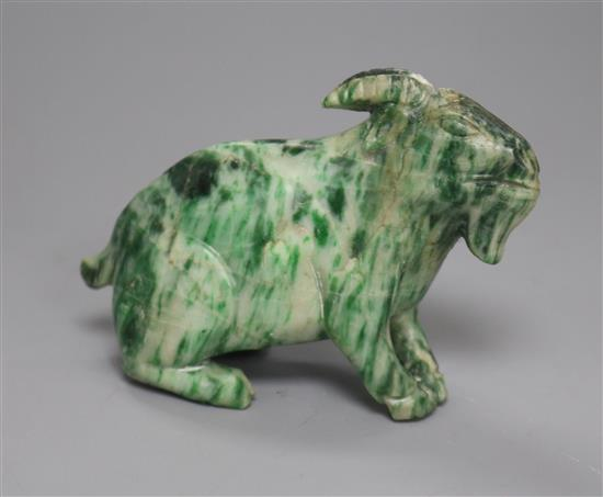 A Chinese jadeite figure of a goat width 10cm