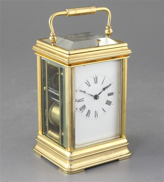 A late 19th century French brass carriage clock, height 6.75in.