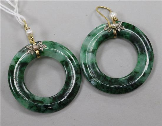A pair of spinach jade, rose cut diamond and cultured pearl set hoop earrings, 36mm.