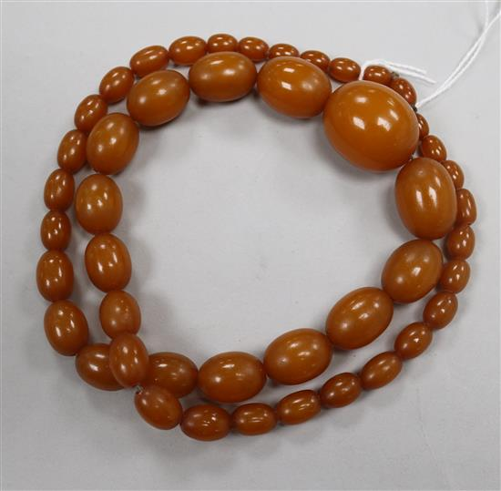 A single strand re-constituted? amber necklace.