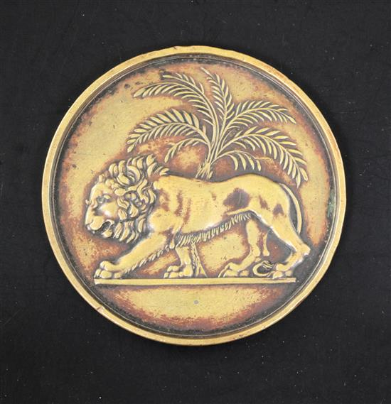 India, Opening of the Bombay Mint, 1828, a bronze medal with lion and palm tree design after Flaxman