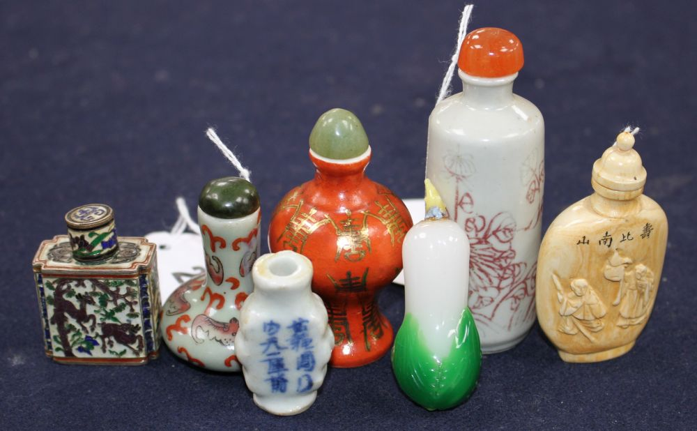 Seven Chinese snuff bottles, various, including porcelain, hardstone and cloisonne examples