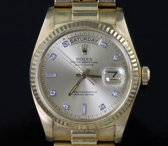 A gentlemans 1980s? 18ct gold Rolex Oyster Perpetual Day Date wristwatch, on 18ct gold Rolex bracelet with deployment clasp,