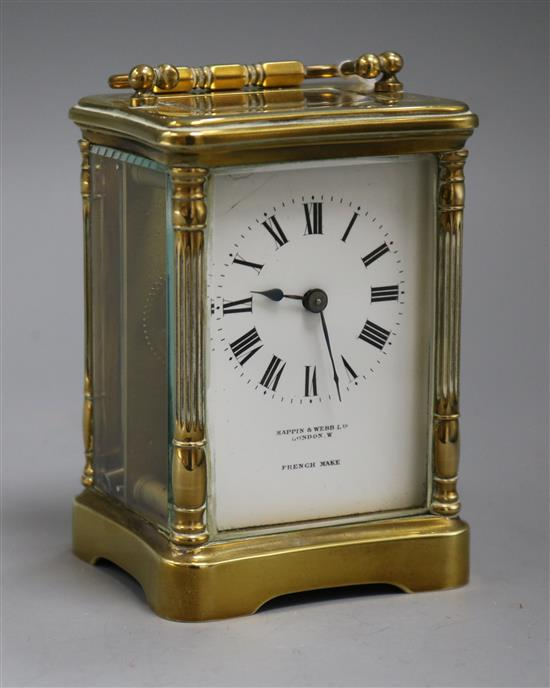 A Mappin & Webb French gilt brass carriage timepiece
