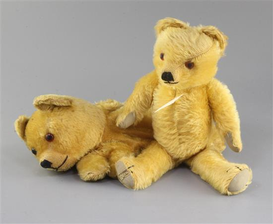 An Omega Pyjama case 1930s, Merrythought bear 1940s, tallest 14in.