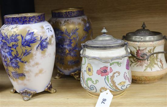 A Carlton ware Art Nouveau biscuit barrel, another barrel and a pair of vases (4) biscuit barrel height 18cm