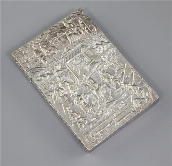 A Chinese export silver card case, 19th century, 10.5cm, small split