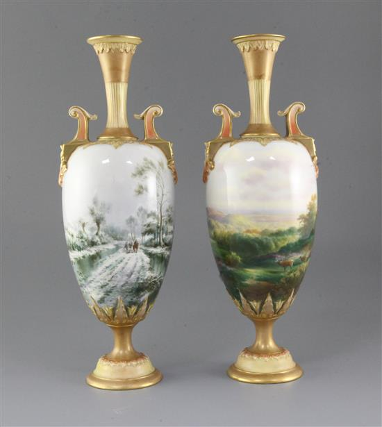 Harry Davis for Royal Worcester. A rare pair of Summer and Winter vases, height 33.5cm