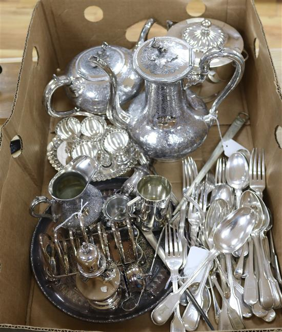 A part service of plated fiddle and thread pattern flatware and a quantity of plated items