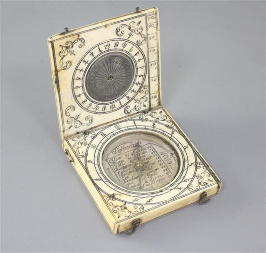 A 17th/18th century ivory diptych compass, width 2in.