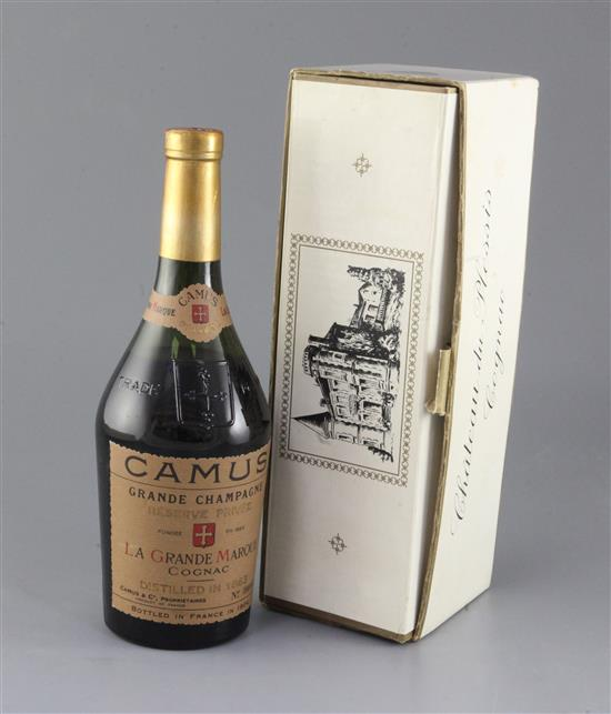 One bottle of Camus Grande Champagne cognac, distilled in 1863, bottled in 1904, no. 52/331,