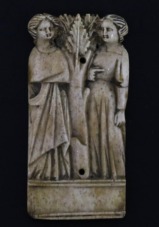 An Italian bone relief plaque, possibly Embriachi workshop, c.1390-1410, W.4.5cm H.9cm
