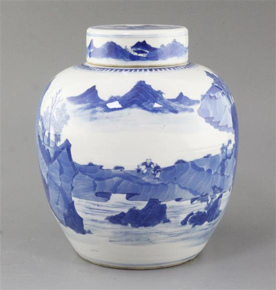 A Chinese blue and white ovoid jar and cover, 18th/19th century, height 23.2cm
