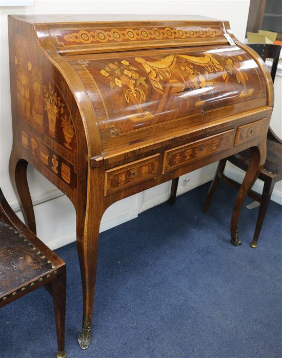 A Louis XV style marquetry and kingwood bureau à cylinder W.100cm