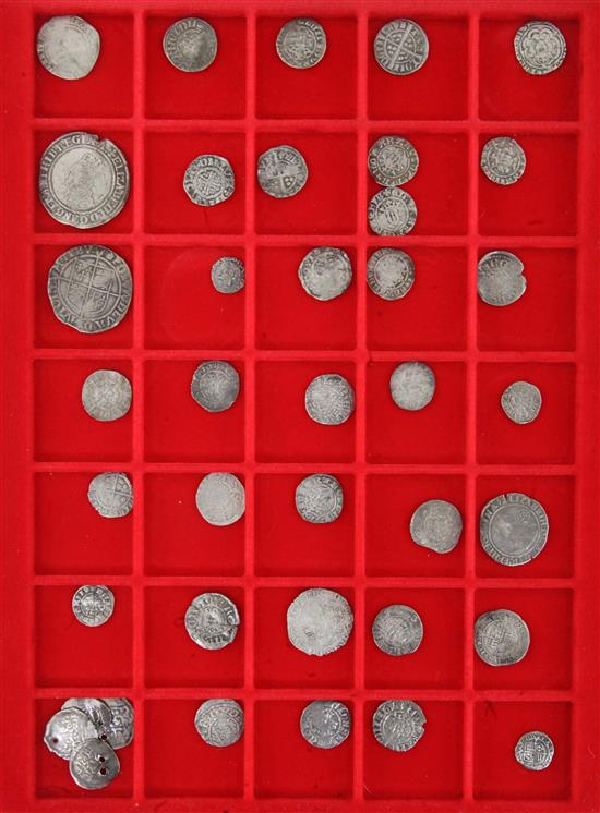A collection of thirty nine British silver coins, Saxon to Stuart period, various grades