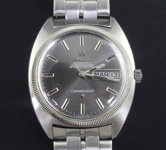 A gentlemans early 1970s stainless steel Omega Constellation automatic wrist watch,