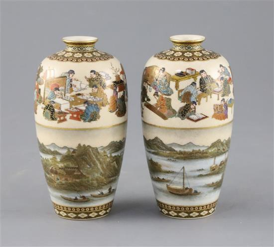 A fine pair of Japanese Satsuma pottery ovoid vases, by Yabu Meizan, Meiji period, H.12cm
