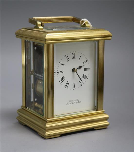 A large French gilt brass carriage clock