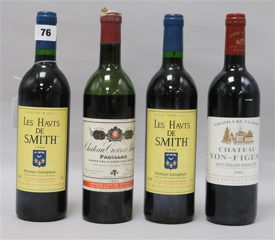A bottle of Yon Figeac, St. Emilion, 1998, two bottles of Les Haut de Smith, 1990 and one bottle of Croiuzet Bage, 1962 (a.f.)