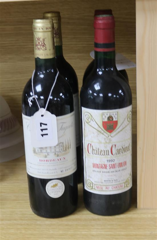 Two bottles of Chateau Cardinal, Montagne St. Emilion, 1990 and two bottles of Des Tuquets, Bordeaux, 1993