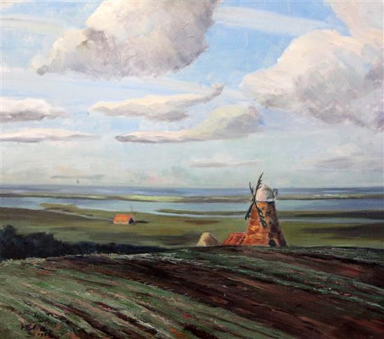 H. E. Collin Windmill in a landscape, 21.5 x 25.5in.