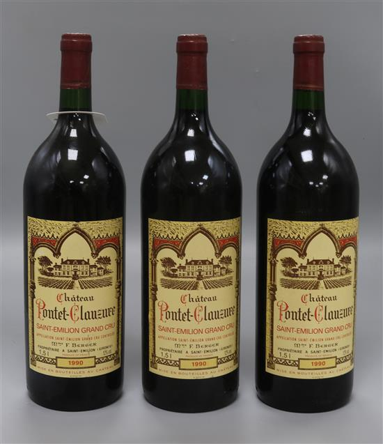 Three magnums of Chateau Poutet Clauzure, 1990