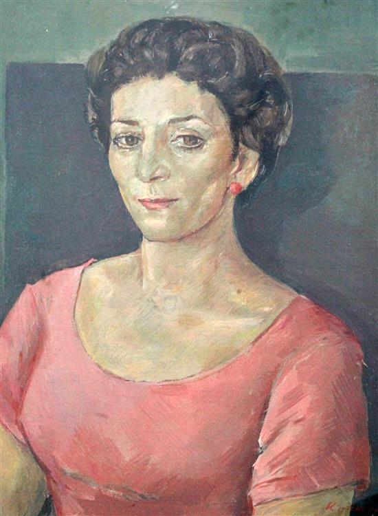 Jacob Kramer (1892-1962) Portrait of a lady, 19 x 15in.