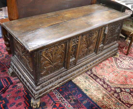 A Spanish walnut coffer, 18th century, W.138cm