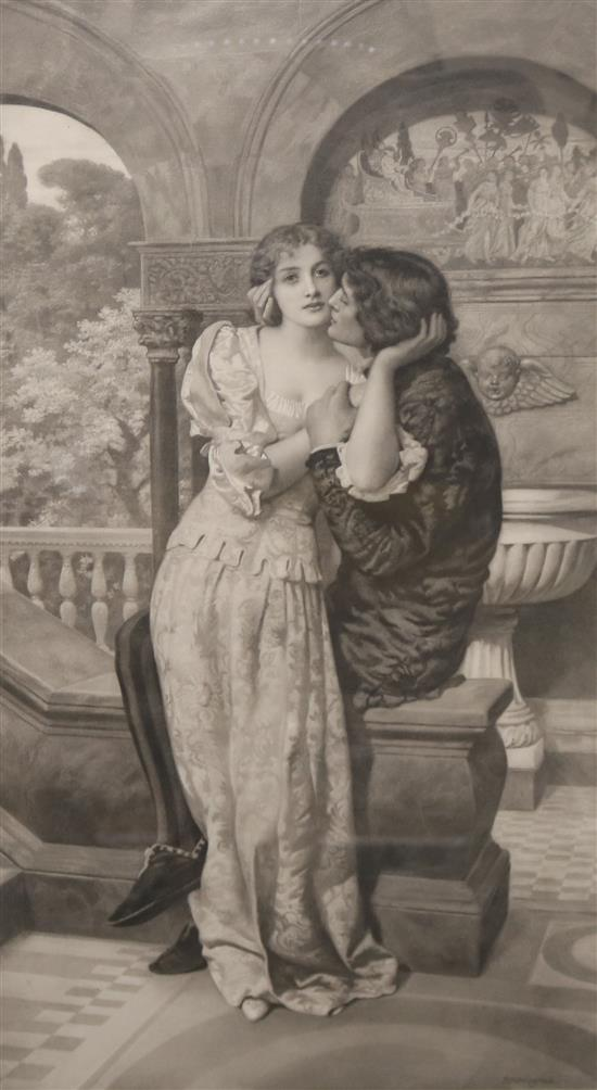 After Edward Robert Hughes (1851-1914), a mezzotint depicting lovers on a balcony,