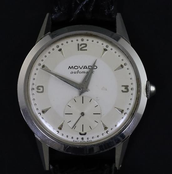 A gentlemans 1950s? stainless steel Movado automatic wrist watch,