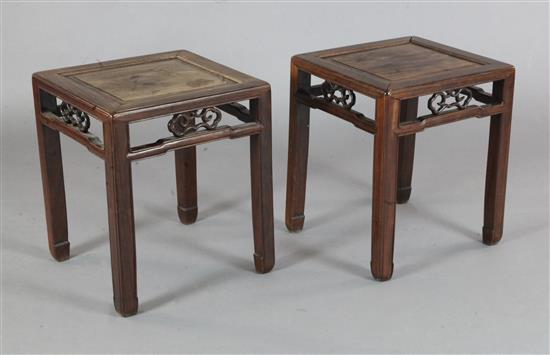 A pair of Chinese hongmu square tables, 19th century, width 41cm height 49cm