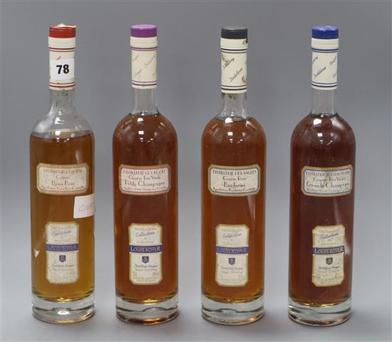 Four bottles of assorted Louis Royer Cognac, including Grande and Petite Champagne