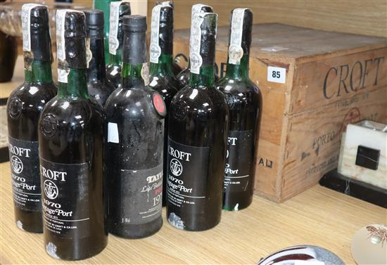 Eight bottles of Croft 1970 Port, one Warres 1975 and one Taylors Late Bottled Vintage, 1979