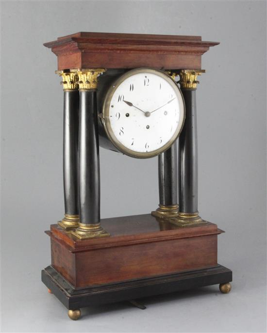 A late 18th century Austrian portico clock with musical movement, Carl Wurm, Vienna, height 19in.