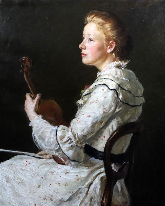 [Susan] Isabel Dacre (1844-1933) A Young Violinist 32 x 26in.
