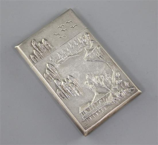 A Chinese export silver card case, by Woshing c.1870-1900, 9cm