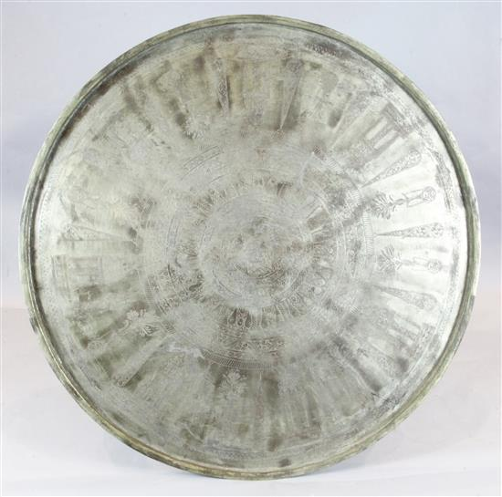 A monumental brass tray, probably Syria or Western Armenia, late 19th century, diameter 56.75in.