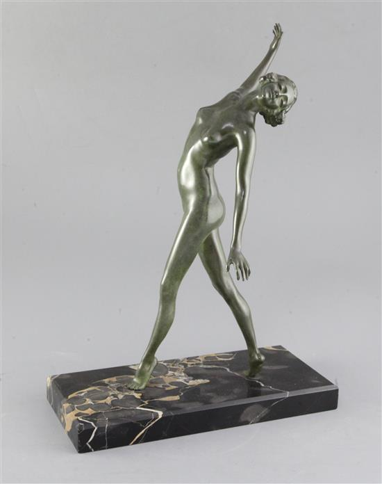 An early 20th century French bronze figure of a dancing female nude, height 14.75in.