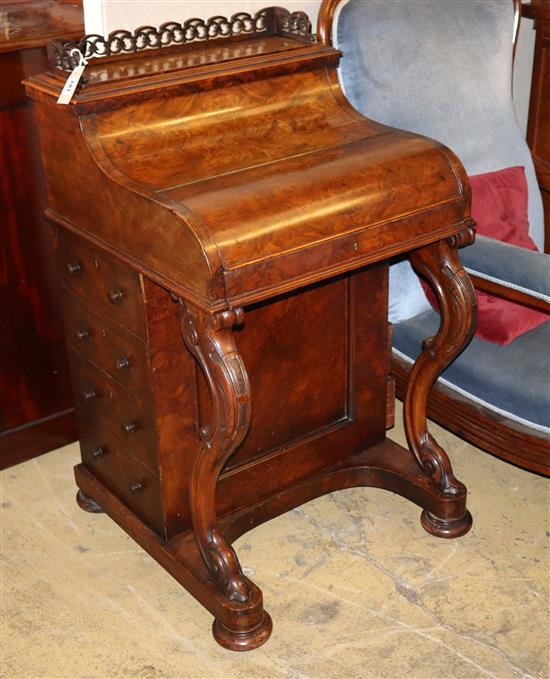A Victorian burr walnut piano front davenport with rising stationary compartment, W.56cm, D.56cm, H.99cm