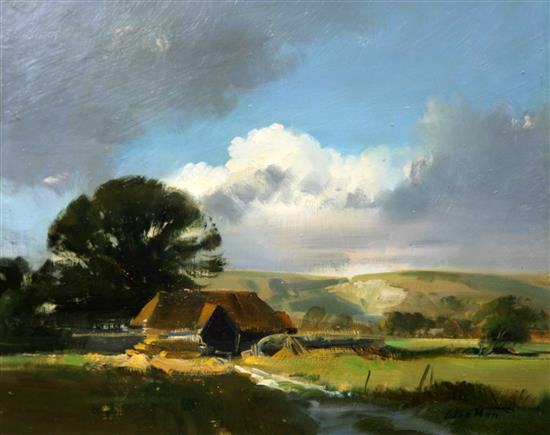 § Frank Wootton (1911-1978) Mockfords Barn, Sussex Downs 10 x 12in.