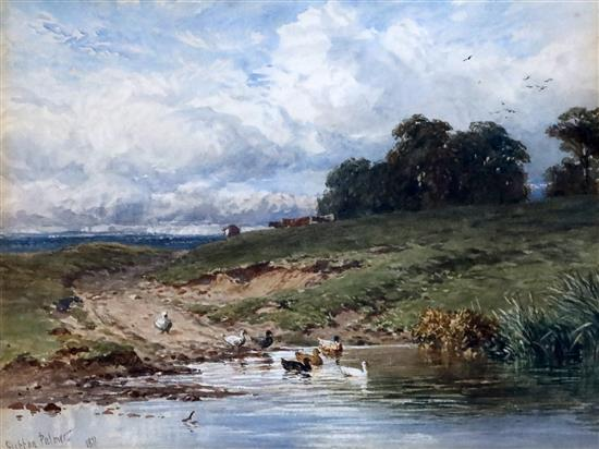 Harry Sutton Palmer (1854-1933) Ducks on the River Ure 10 x 13in.
