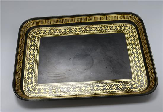 A Regency gilt and black lacquered papier mache tray 35 x 26cm