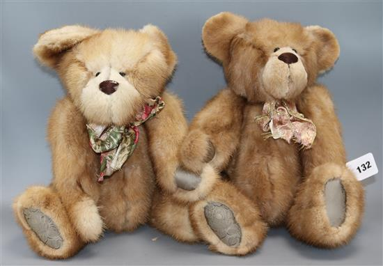Two Angie Rogers 1999 fur teddy bears