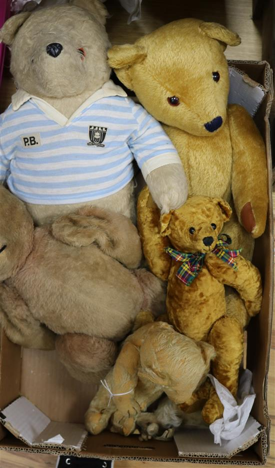 A collection of 20th century teddy bears and a stag (6)