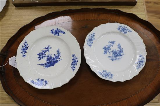 A set of five Oude Amstel (Dutch) dishes, painted with sprigs of peony blossom, blue on white