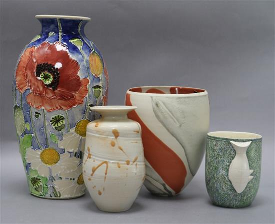 Jonathan Cox (contemporary), a Poppy Fields ceramic vase, signed and three other items, H 26cm (poppy vase)