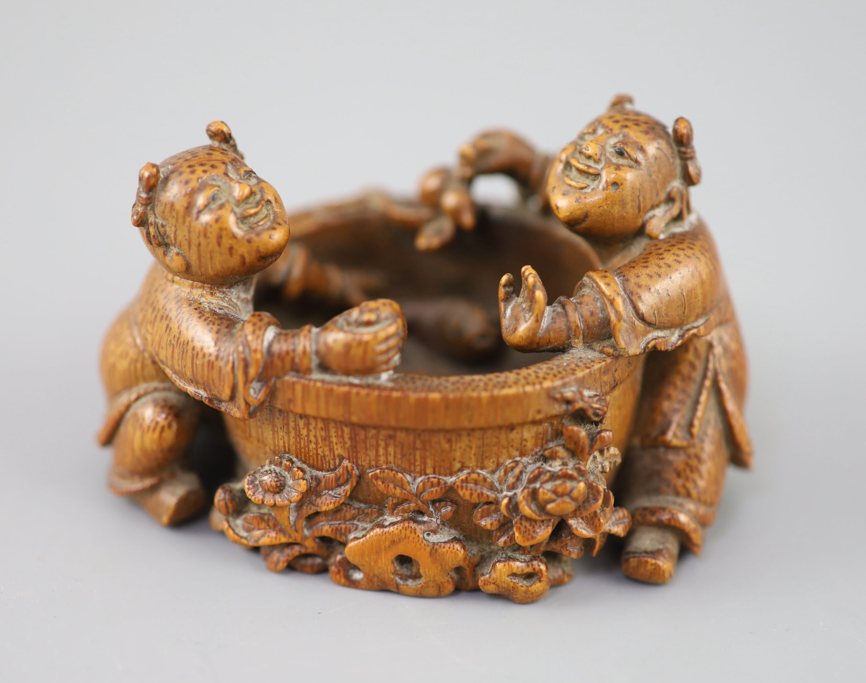 A fine and rare Chinese bamboo-root boys and fish bowl brush washer, 18th/19th century,
