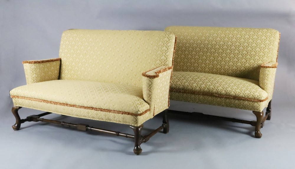 A Queen Anne upholstered scroll arm sofa and a matching reproduction sofa, W.5ft H.3ft