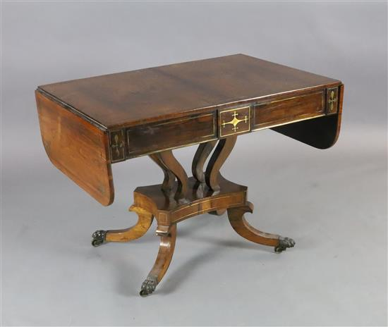 A Regency brass inset rosewood sofa table, W.3ft 3in. D.2ft 2in. H.2ft 4in.