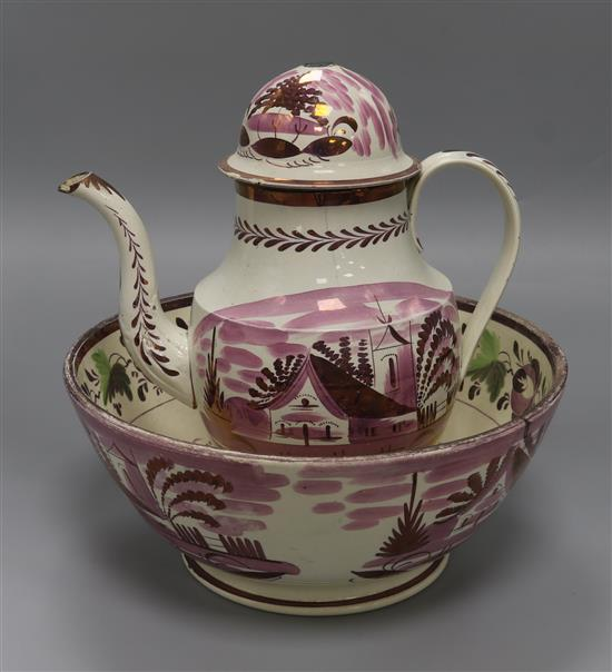 A Sunderland lustre bowl and coffee pot (the latter a.f.) basin diameter 39cm pot height 28cm